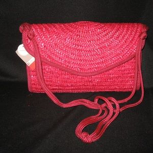 CROFT & BARROW RED STRAW SHOULDER BAG NWT